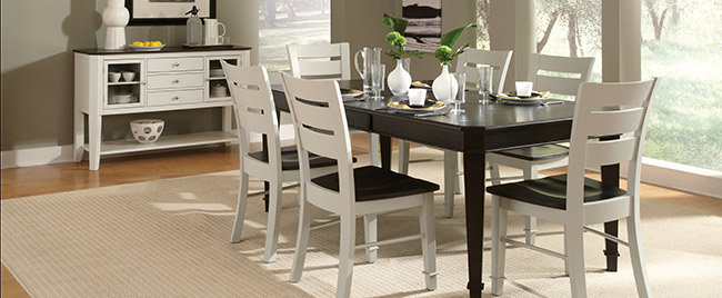 White and Black Dining Set