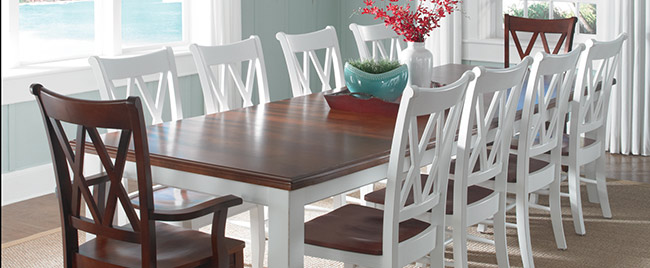 White and Brown Dining Set